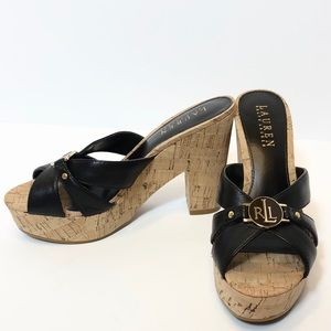 Ralph Lauren Leather Platform Sandals